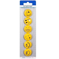 Set magneti Emoji, 6 emoticoane Smiley Face, 30 mm, galben