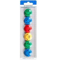 Magneti Smiley Face 30 mm, multicolor, set 6 bucati, Starpak