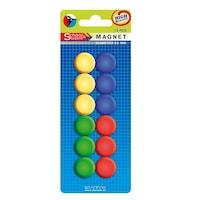 Magneti colorati pentru tabla magnetica, diametru 22mm, set 12 bucati