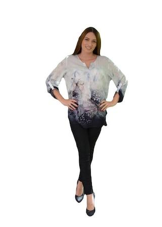 Bluza cu model de fluturi colorate,masura mare,D&J Exclusive,, Multicolor