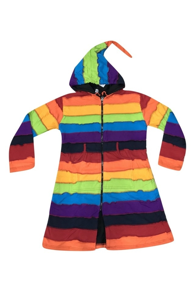 GGT, Hosszú női kabát Nepálból, szivárvány színben, XXL