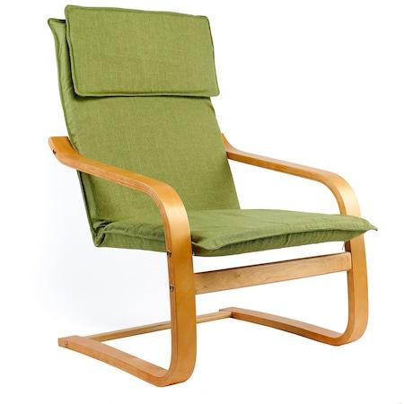 Фотьойл Kring Casper, Извита рамка, 60x60x90 см, Зелен/Кафяв