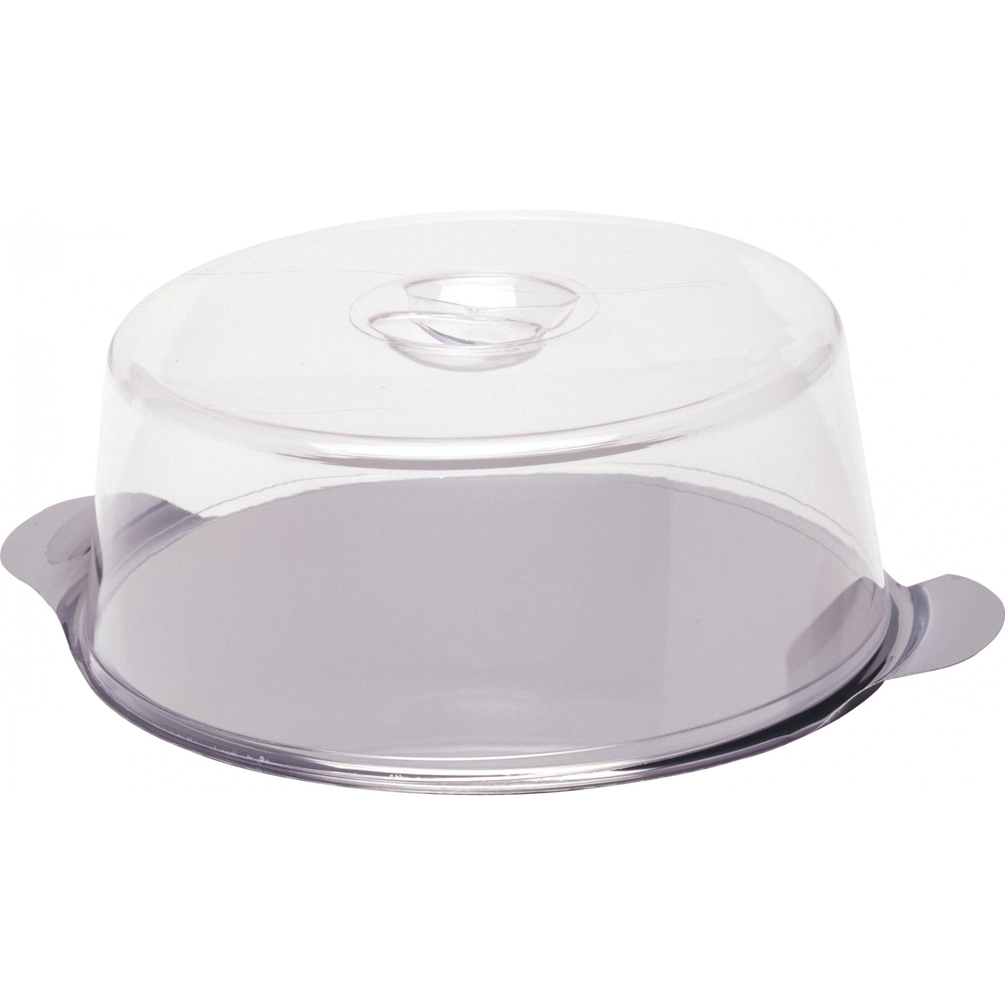 Fotografie Platou tort cu capac Hendi, otel inoxidabil/plastic SAN, Ø30x(H)11 cm