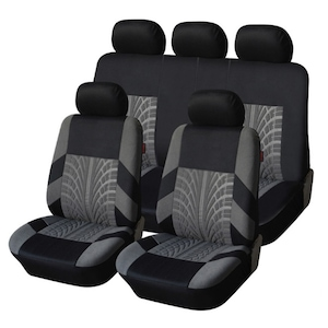 Калъфи/тапицерия за предни и задни цели седалки Flexzon, Пълен комплект, Универсални, Сивa