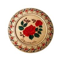 Сувенирна Чиния с Рисувани Рози 18 Орешак