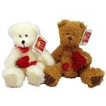 Плюшена играчка Russ Berrie Св Валентин Alice's Bear Shop 2 Мечета с цветя, Бяло и кафяво, 27 см, (91725-91726)