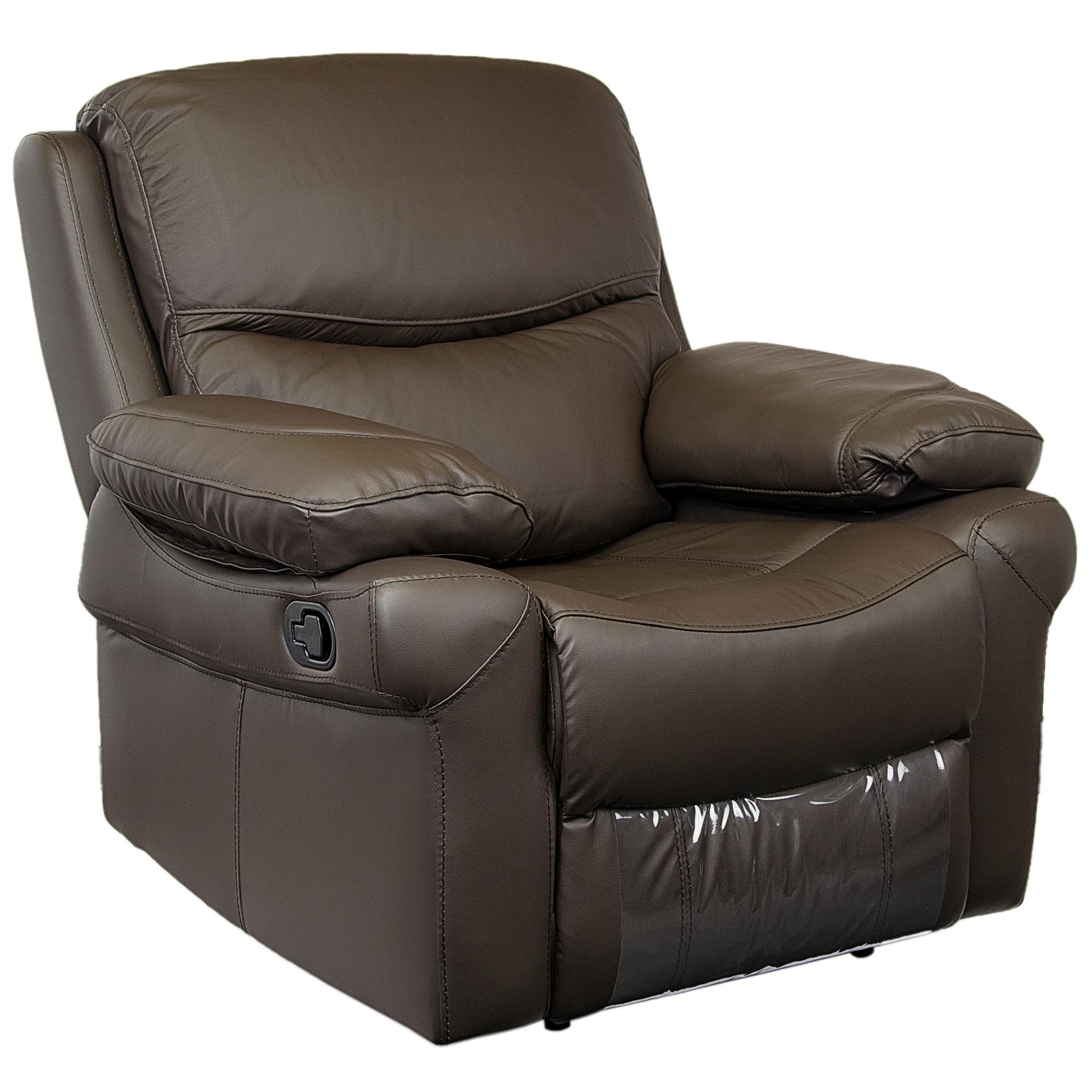 Fotografie Fotoliu Kring Royal, cu recliner si 3 trepte de confort, piele naturala, Maro, 107 x 98 x 100 cm