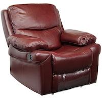 Фотьойл Kring Royal, С накланяне и 3 степени на комфорт, Естествена кожа, Червено-кафяв , 107 x 98 x 100 cм