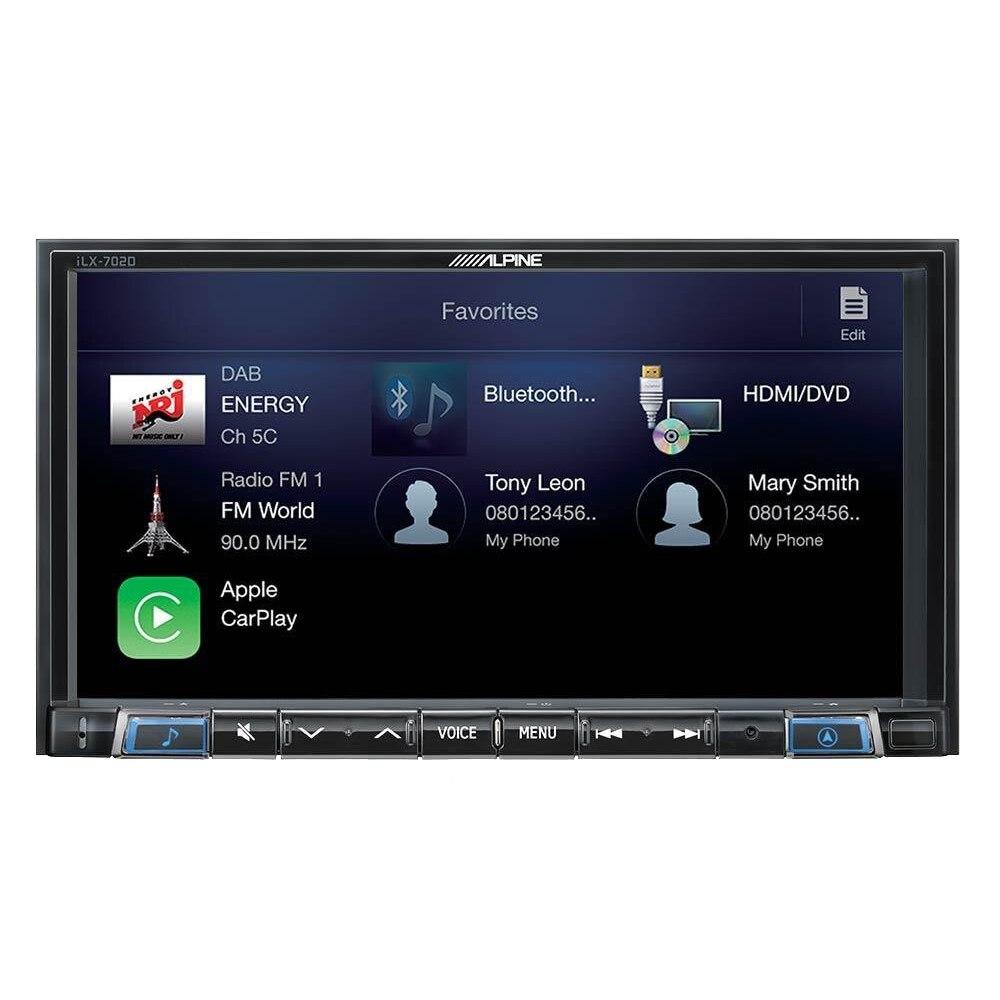 """Fotografie Sistem Alpine ILX-702D, Multimedia 2 DIN, Apple CarPlay, compatibilitate Android Auto, Bluetooth, ecran 7"""""""