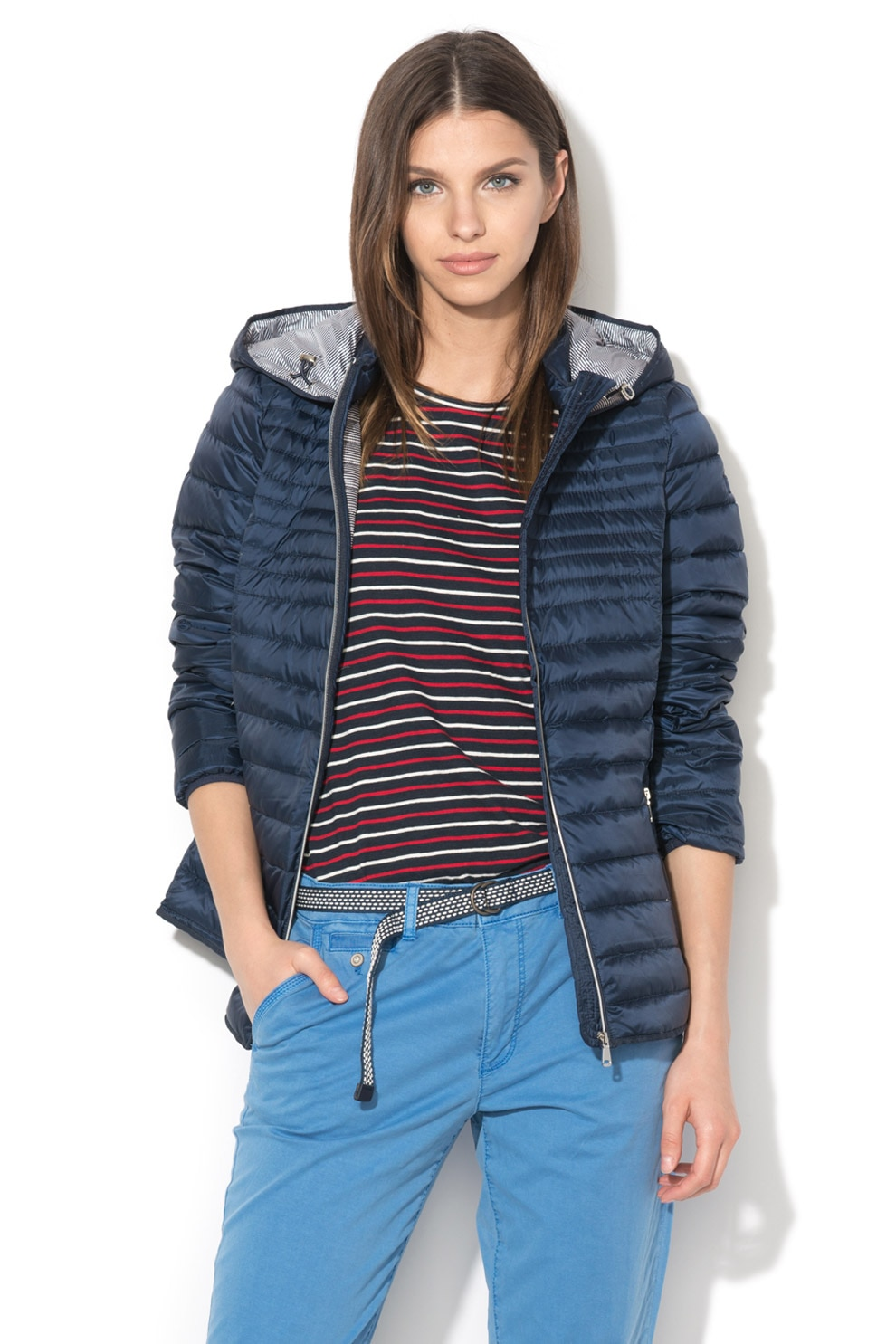 Esprit, Pihével bélelt, kapucnis dzseki, Drapp, L eMAG.hu