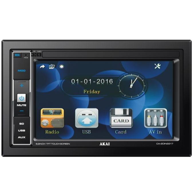 "Fotografie Media player auto 2 DIN Akai, A-2DIN2217, display 6,2"", 4X25W RMS, USB, AUX, iluminare albastru, telecomanda, fara unitate DVD"