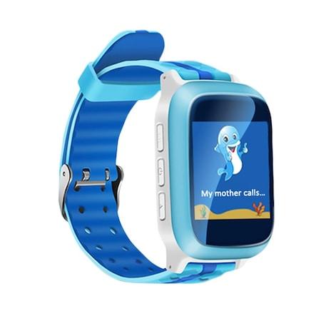 Smartwatch copii ceas GPS TechONE™ DS18, rezistent la apa, cu functie telefon, display color 1.44 inch, anti zgariere, monitorizare spion, buton SOS, albastru