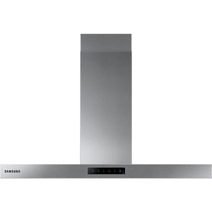 Fotografie Hota incorporabila decorativa Samsung NK36M5060SS/UR, Putere de absorbtie 531 m3/h, 1 motor, 90 cm, Control tactil, Booster, Indicator saturare filtru, LED, Inox