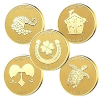 """Колекция медали """"Жълтички за късмет """" 5бр, с масивно златно покритие"""