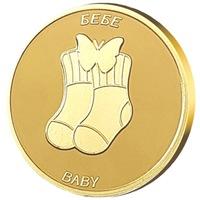 """Медал Жълтичка за късмет """"Бебе"""", с масивно златно покритие"""