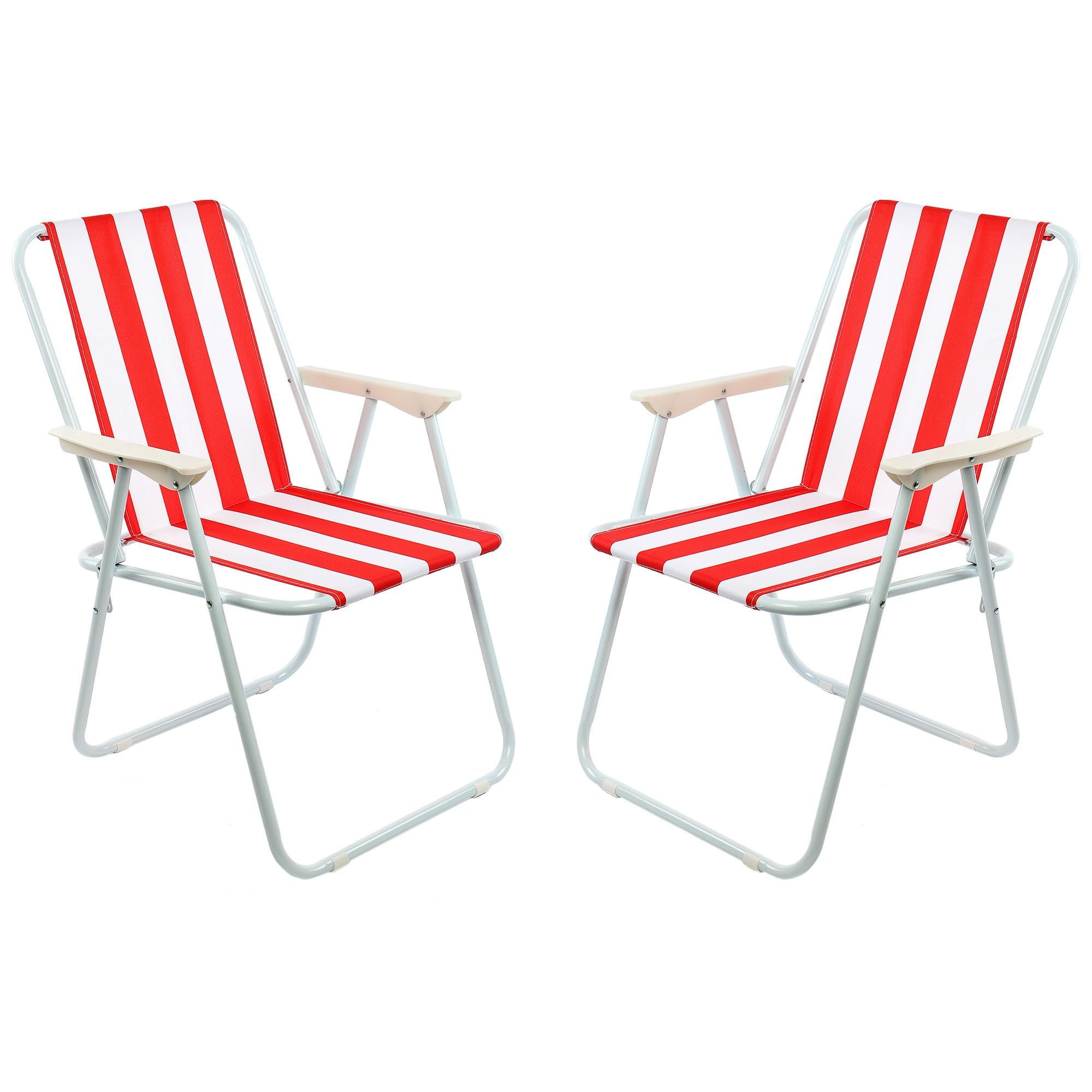 Fotografie Set 2 scaune pliante gradina/terasa/plaja Kring Oxford, 60x70, otel, alb/rosu