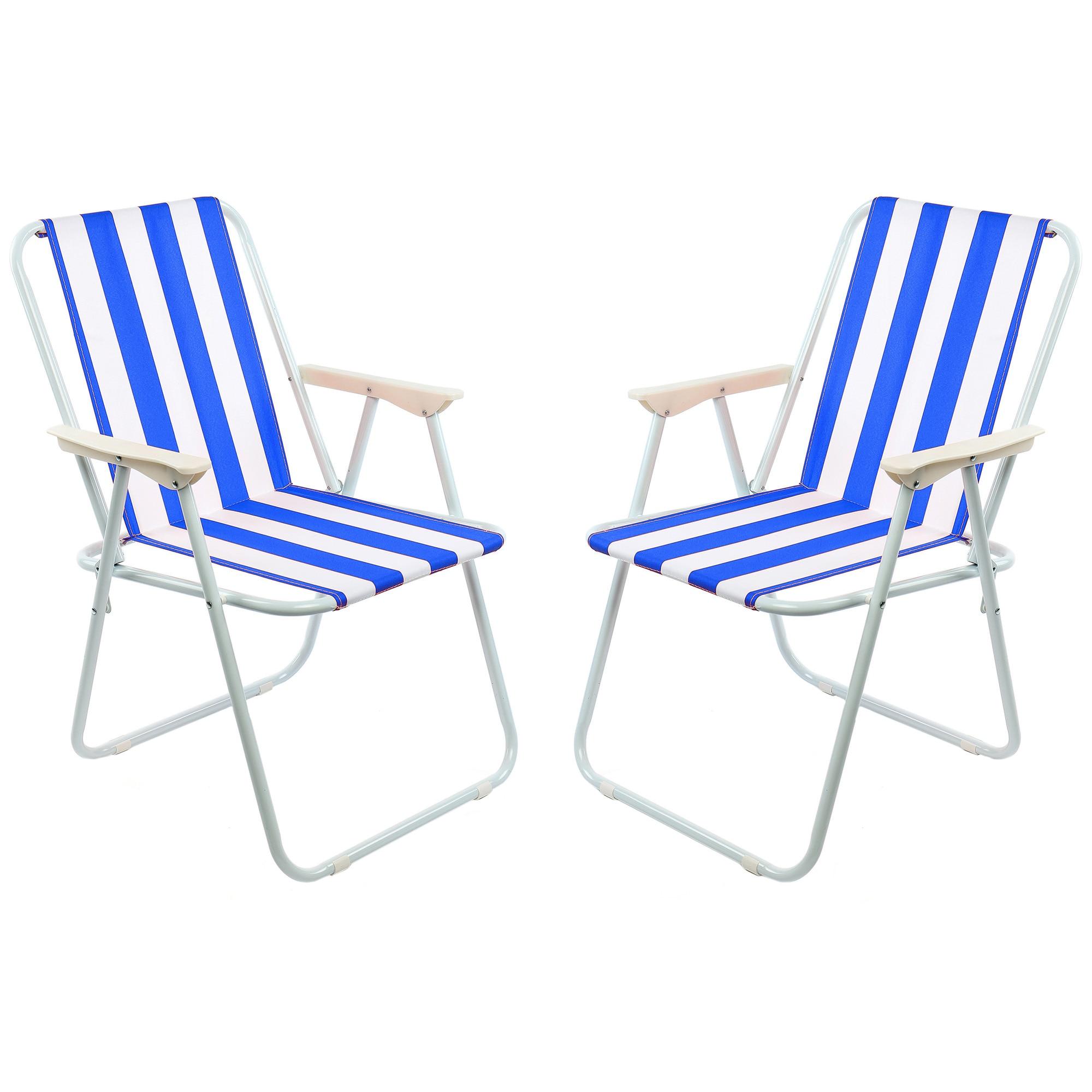 Fotografie Set 2 scaune pliante gradina/terasa/plaja Kring Oxford, 60x70, otel, alb/albastru