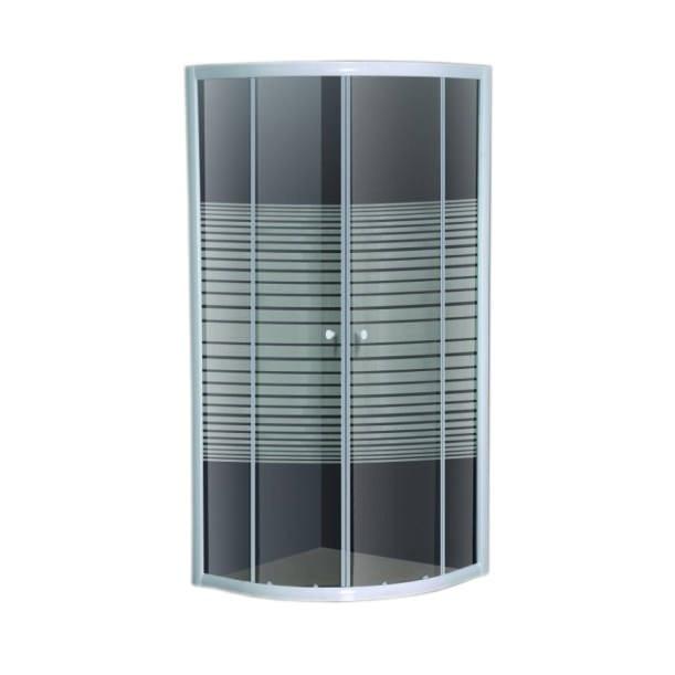 Fotografie Paravan de dus semirotund Belform Grid, usa culisanta, profil alb, sticla securizata, 90x90 cm