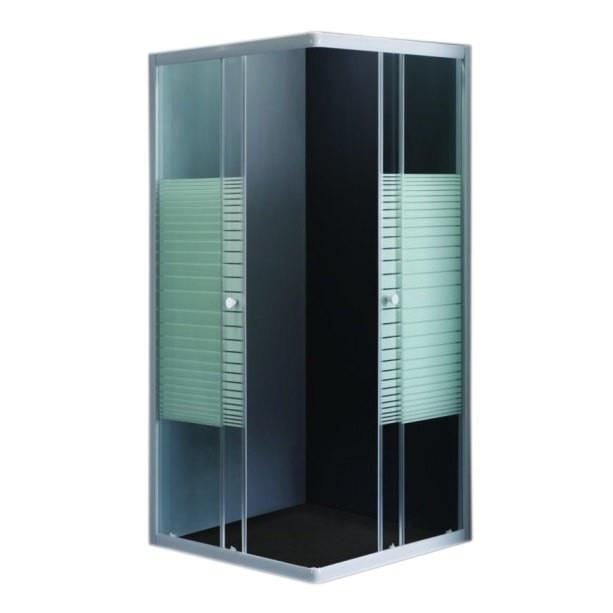 Fotografie Paravan de dus Belform Grid, usa culisanta, profil alb, sticla securizata, 80x80 cm