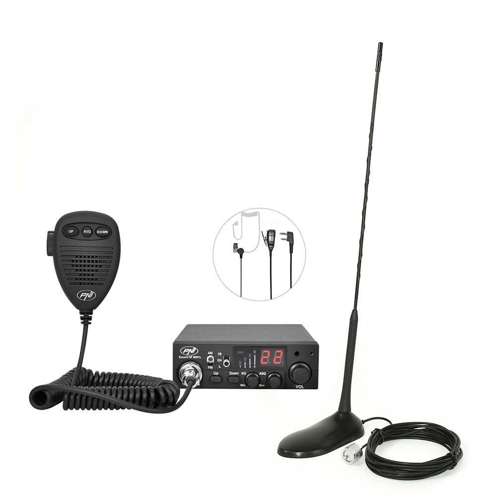 Fotografie Kit Statie radio CB PNI Escort HP 8001 ASQ + Casti HS81 + Antena CB PNI Extra 45 cu magnet