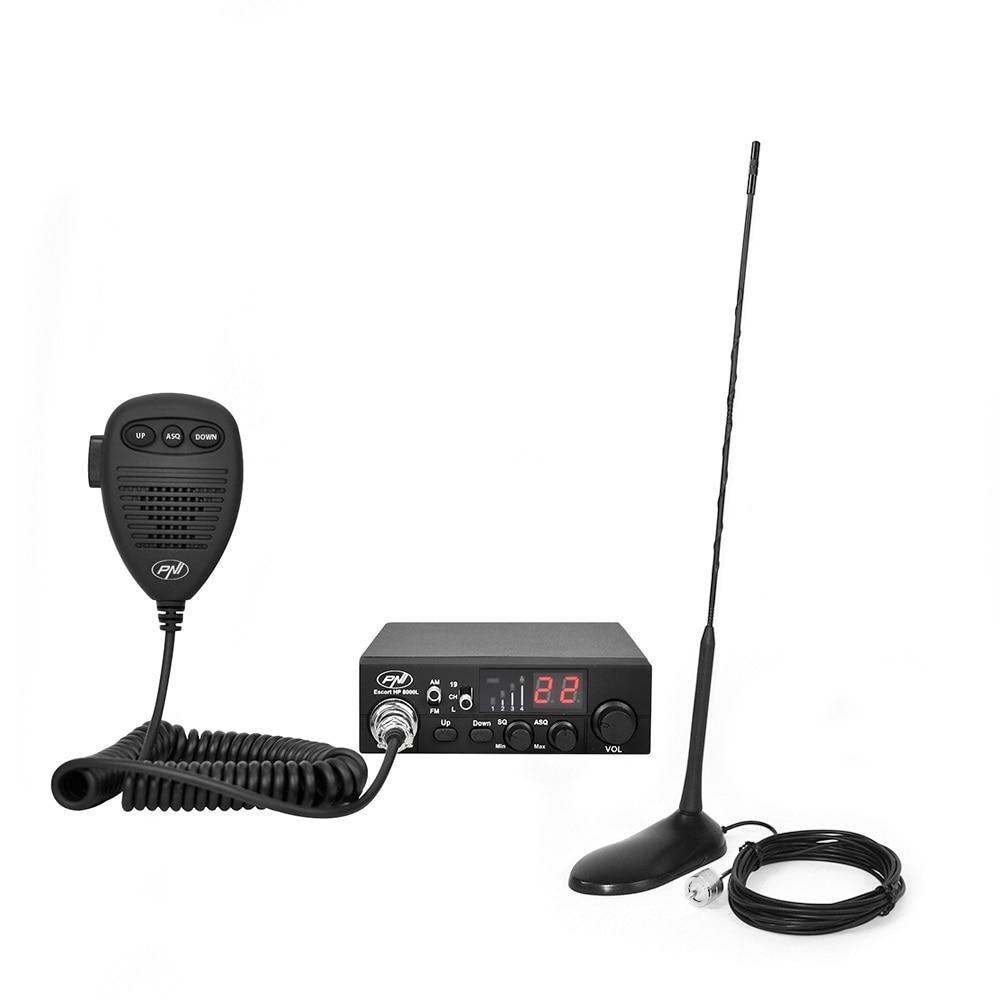 Fotografie Kit Statie radio CB PNI ESCORT HP 8000L ASQ + Antena CB PNI Extra 45 cu magnet