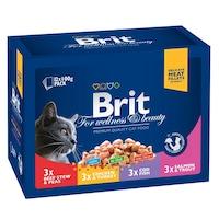 Мокра храна за котки Brit Premium Family Variety, Пауч, 12 x 100 гр