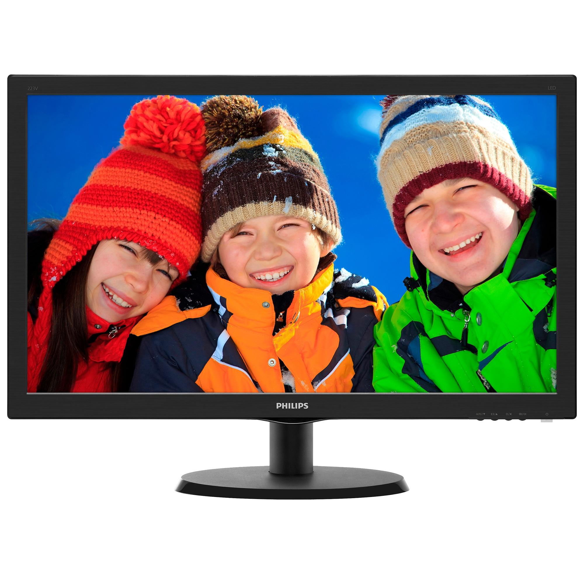 "Fotografie Monitor LED TN Philips 21.5"", Wide, FHD, HDMI, 223V5LHSB, Negru"