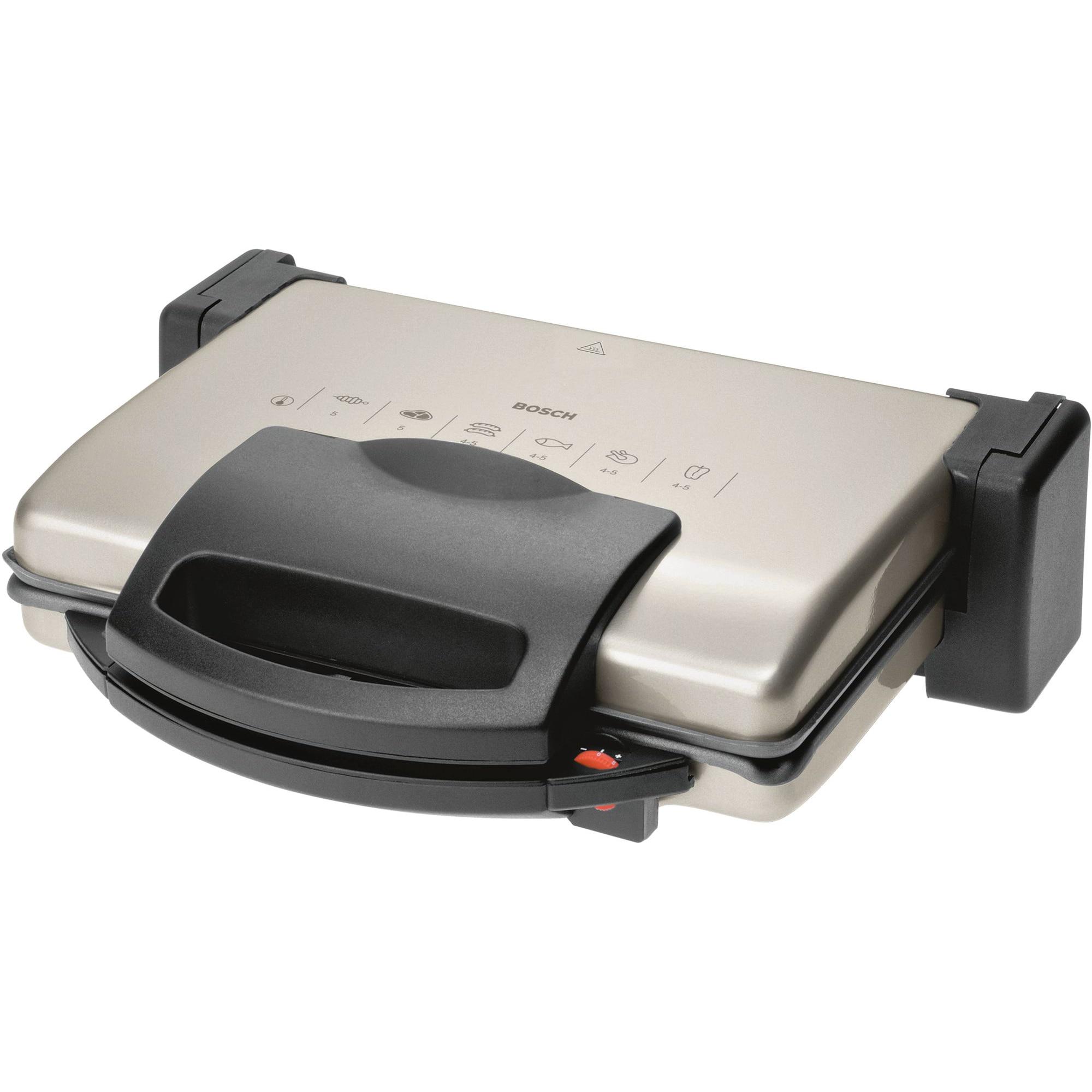 Fotografie Gratar electric Bosch TFB3302V, 1800 W, termostat reglabil, placi antiaderente si detasabile, Aluminiu/Antracit