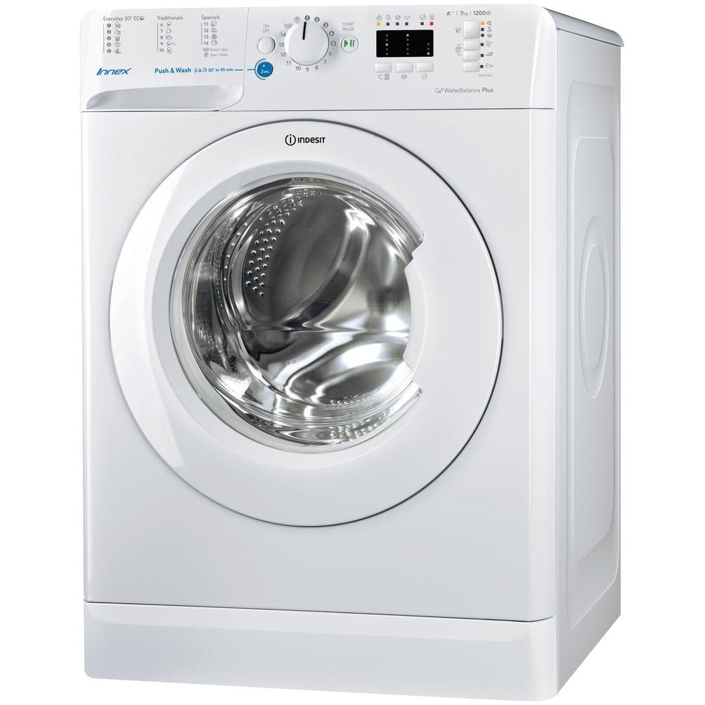 Fotografie Masina de spalat rufe Slim Indesit Innex BWSA71253W EU, 7kg, 1200 RPM, Push&Wash, Clasa A+++, Alb