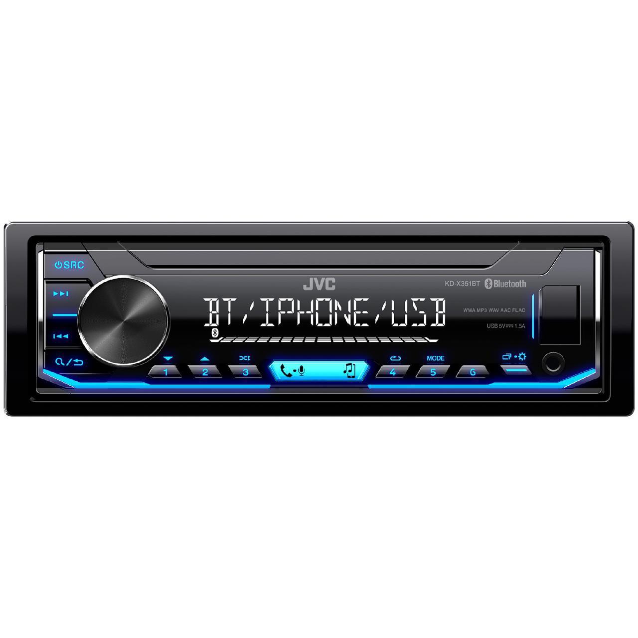 Fotografie Player auto JVC, KD-X351BT, 4x50W, USB, AUX, Bluetooth, Subwoofer control, Iluminare albastru