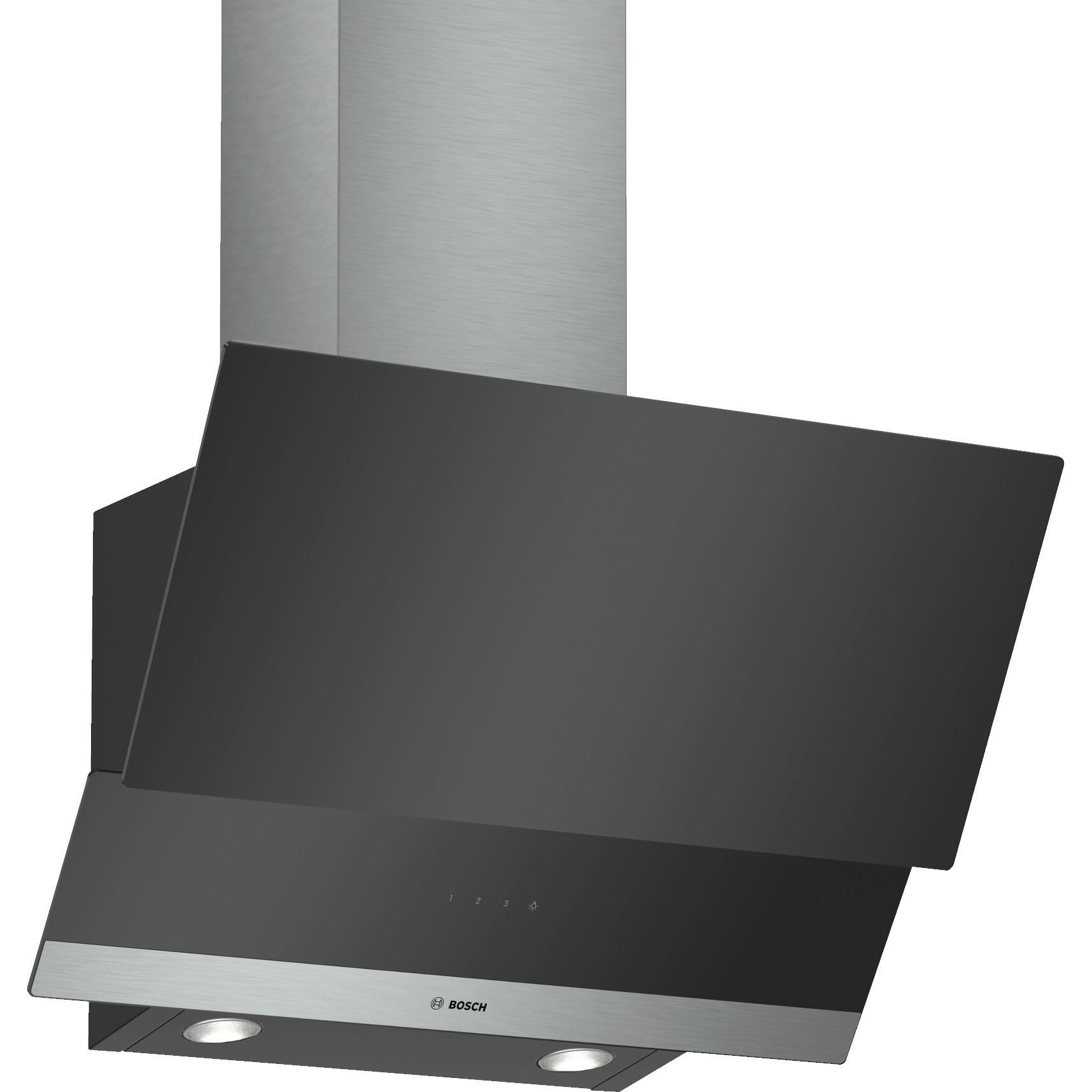 Fotografie Hota incorporabila decorativa Bosch DWK065G60, Putere de absorbtie 593 mc/h, 60 cm, Sticla neagra
