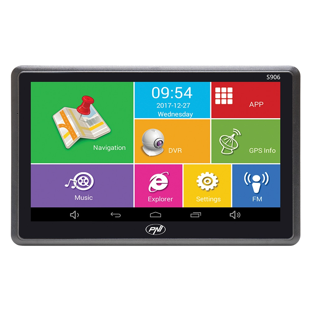 Fotografie Sistem de navigatie GPS PNI S906 ecran 7 inch cu Android 6.0, harti incluse Here Maps si Waze cu radarele din Romania