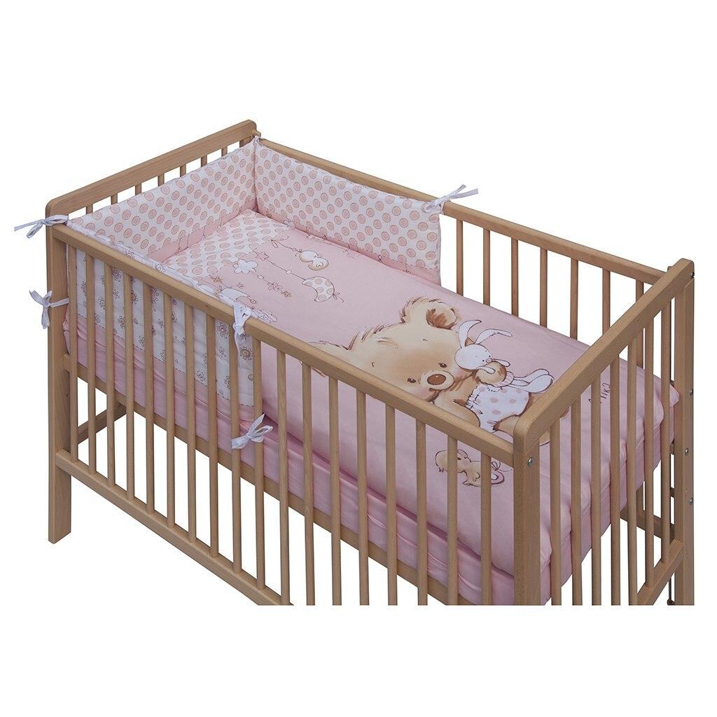 Rózsaszín pöttyös 3 részes babaágynemű szett eMAG.hu