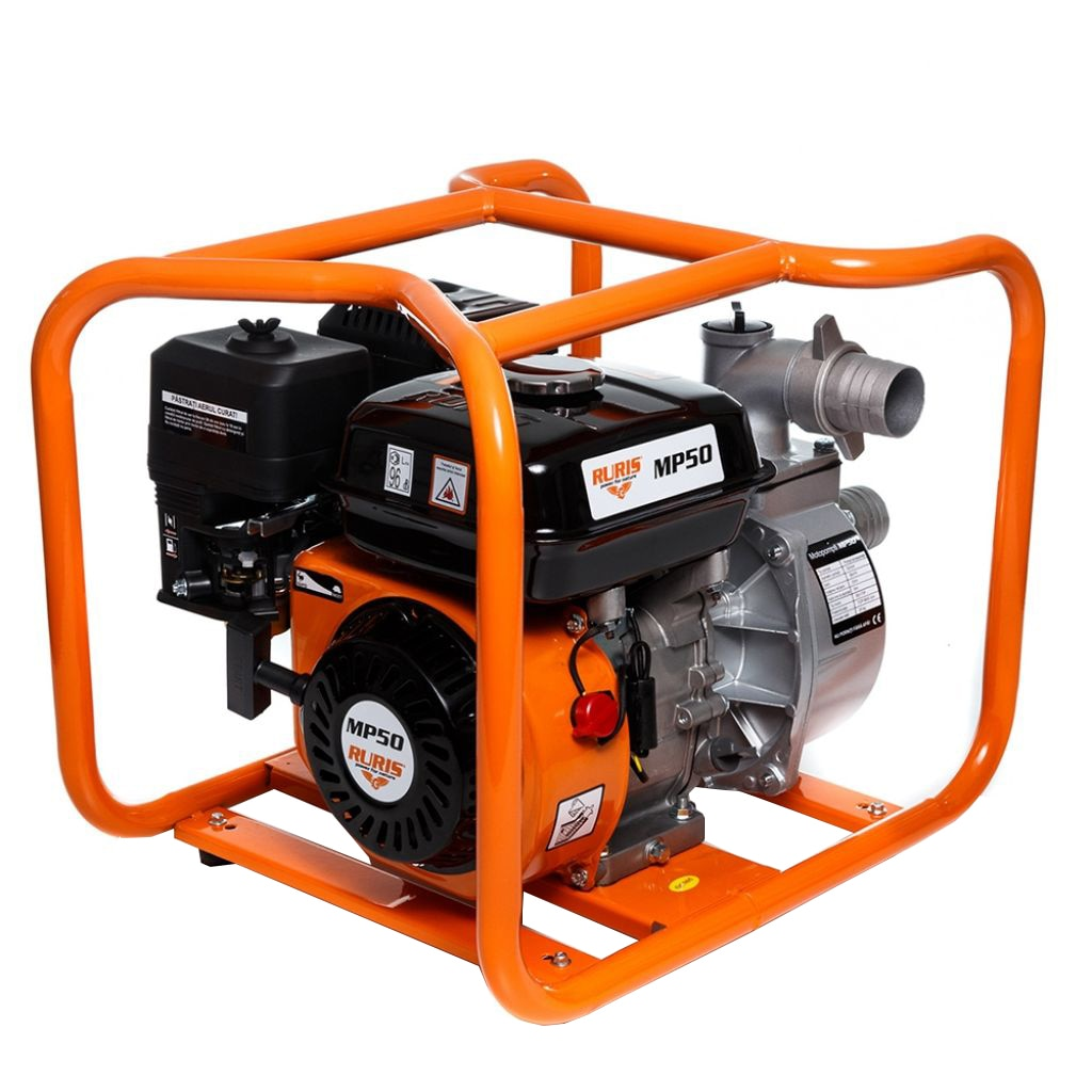"Fotografie Motopompa apa curata Ruris MP50, 7 CP, 212 CC, 25 m³/h debit apa, 2"" prindere furtun, 25 m inaltime refulare, 8 m adancime absorbtie, 3.6 l, benzina"
