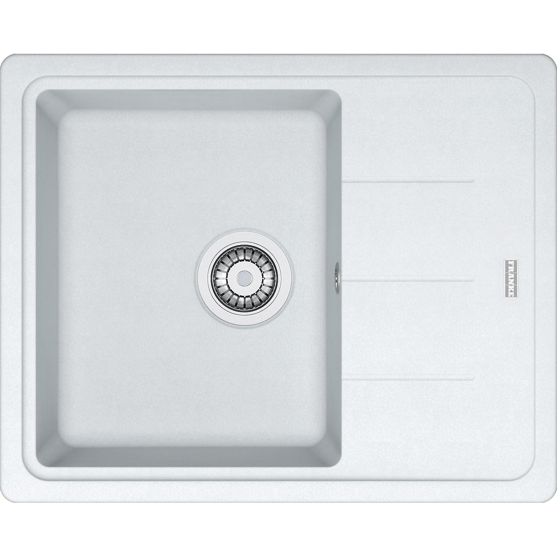 Fotografie Chiuveta fragranite Franke BFG 611-62, 620x500mm, ventil, cleme de fixare, sifon si sistem inchidere ventil, Alb
