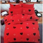 Piros Szíves ágyneműhuzat garnitúra Fekete szívekkel