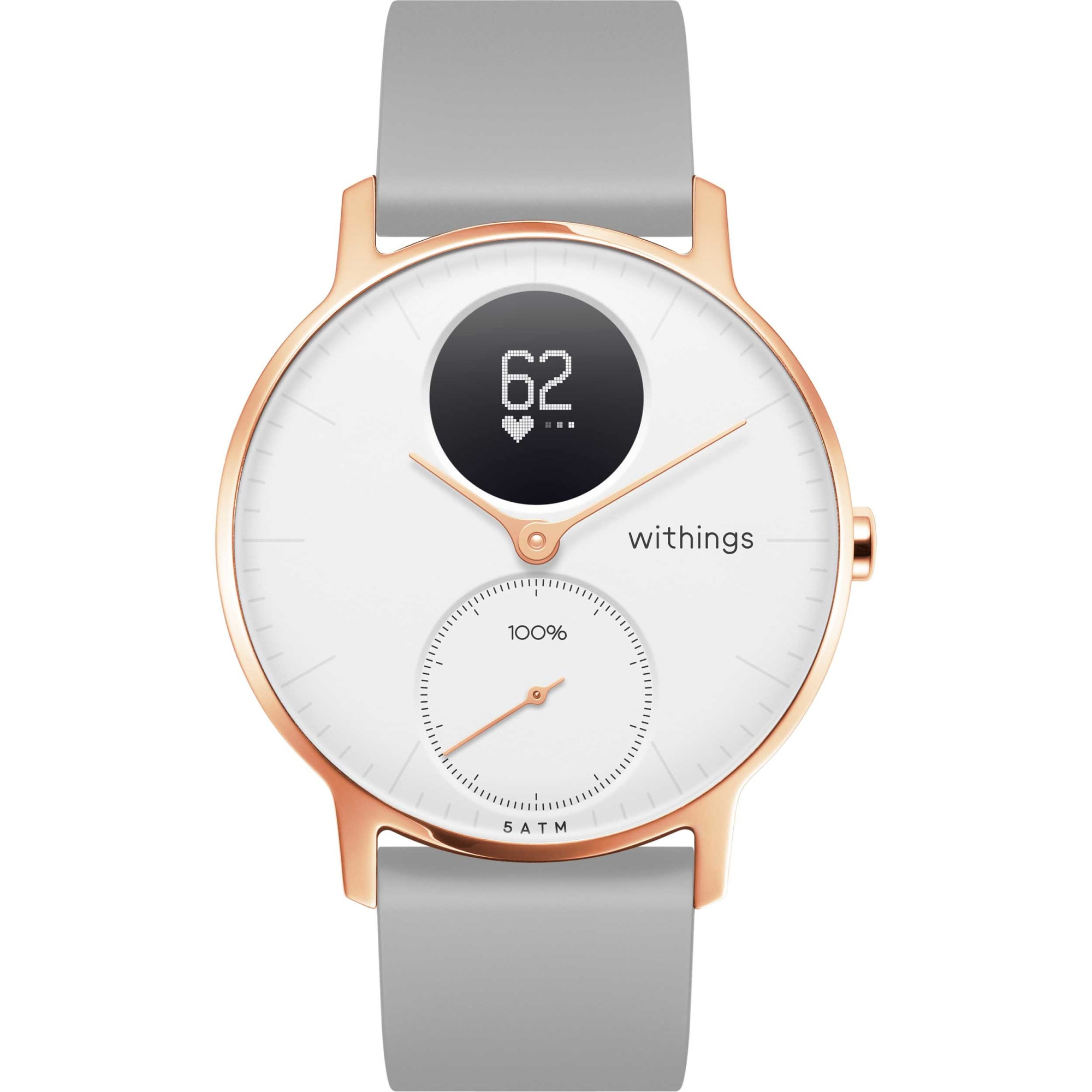 Fotografie Ceas smartwatch Withings Steel HR 36mm, Grey Silicone Band, Rose Gold