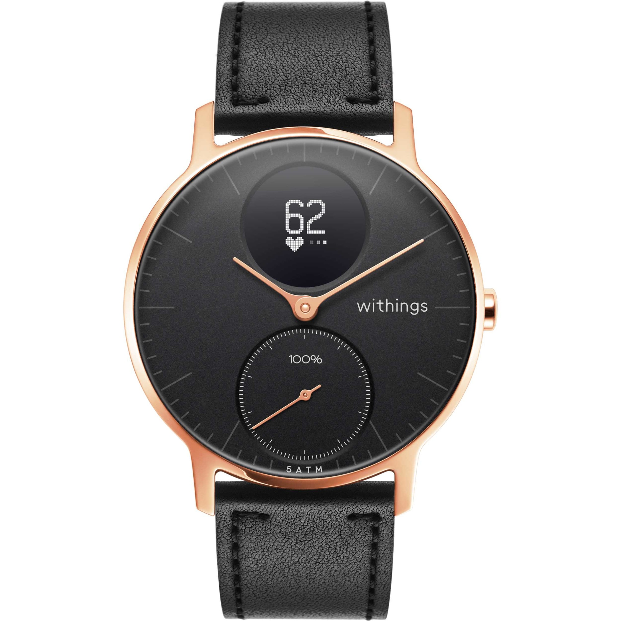 Fotografie Ceas smartwatch Withings Steel HR 36mm, Black Leather + Black Silicone Band, Rose Gold