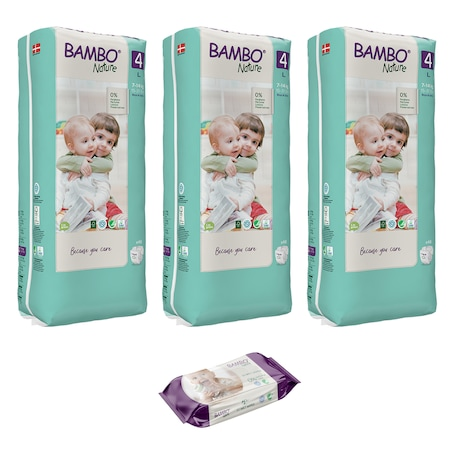 Set 3 pachete, Scutece pentru copii BAMBO Nature Maxi, Nr. 4, 7 - 14 kg, 144 buc + cadou servetele umede BAMBO Nature, 80 buc