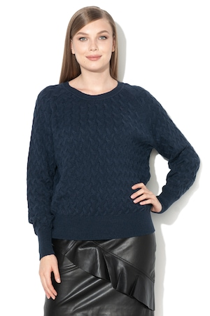 Vila, Пуловер с фина плетка, Тъмносин, XS