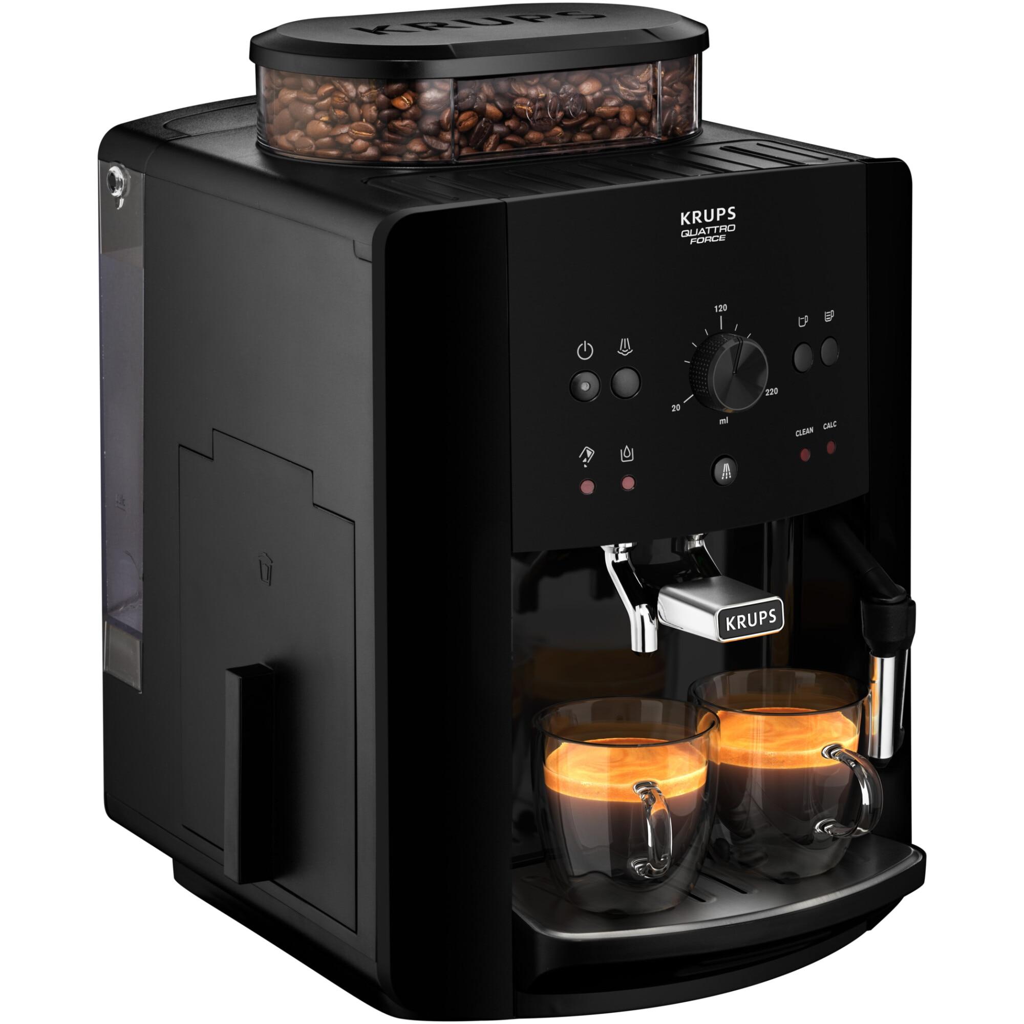 Fotografie Espressor automat Krups Picto Arabica EA811010, 1450W, 15bari, rezervor boabe 260g, rezervor apa 1.7L, rasnita 3 nivele, Negru