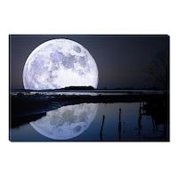 Декоративно пано DualView Startonight, Пълнолуние, Синьо, Светещо в тъмното, 70 x 100 см