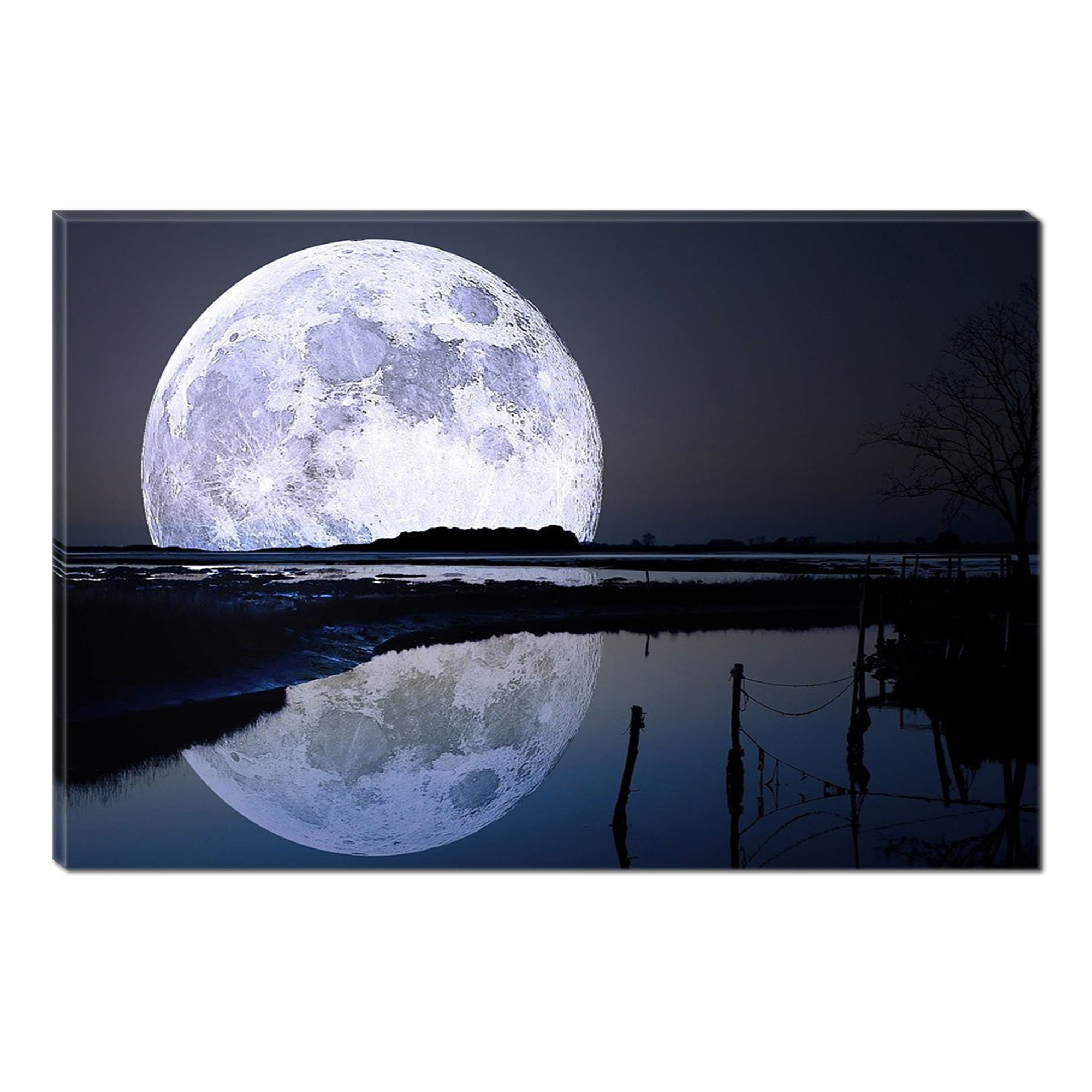Fotografie Tablou DualView Startonight Luna Plina Uriasa, Albastru, Luminos in intuneric, 70 x 100 cm