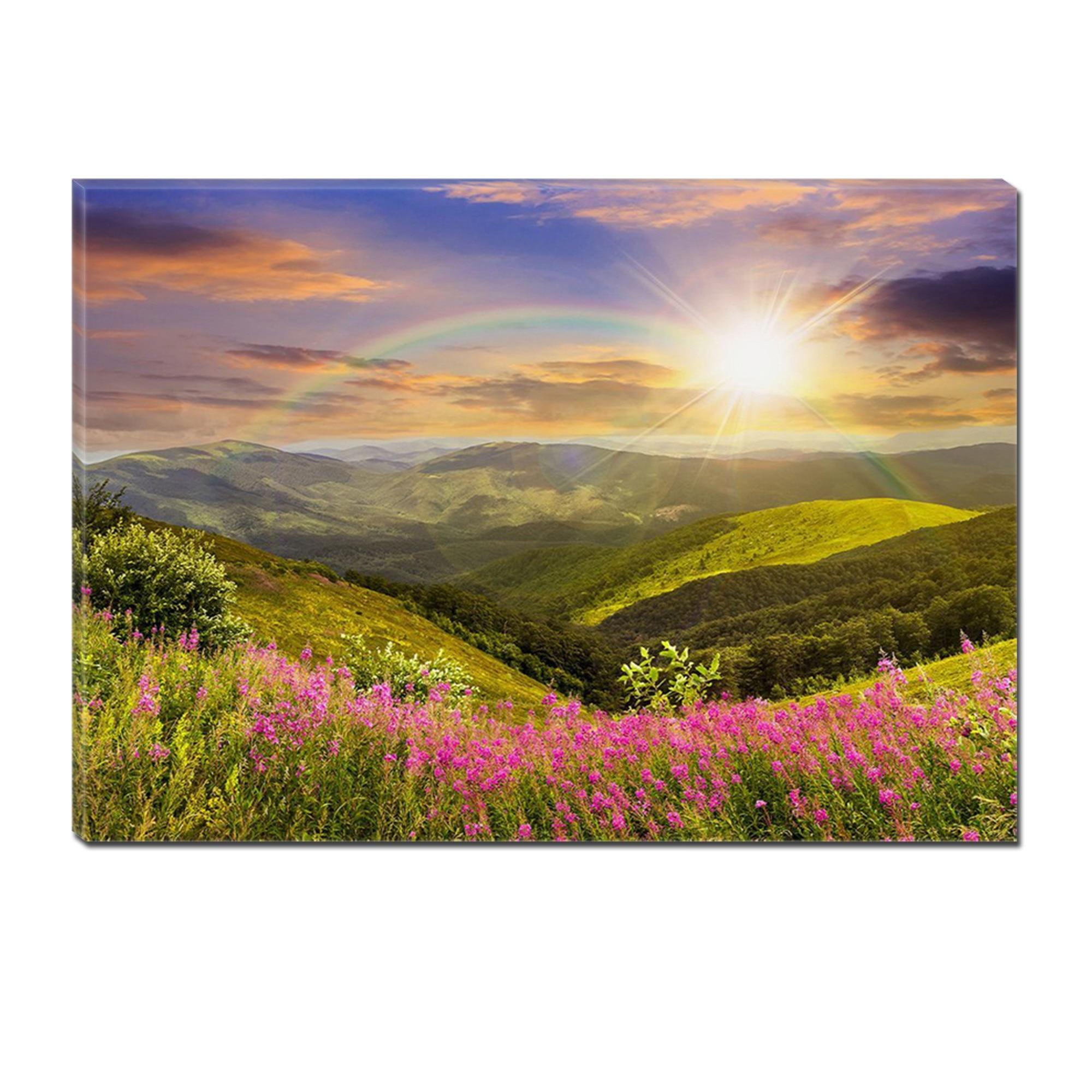 Fotografie Tablou DualView Startonight Curcubeu si Soare, Peisaje,Luminos in intuneric, 70 x 100 cm