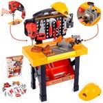 Banc de Lucru Tools & Brains Workshop LikeSmart pentru Copii cu Unelte si Accesorii, 76 cm Inaltime, Bormasina, Fierastrau, CIocan, Rafturi, Accesorii Realiste, Multicolor
