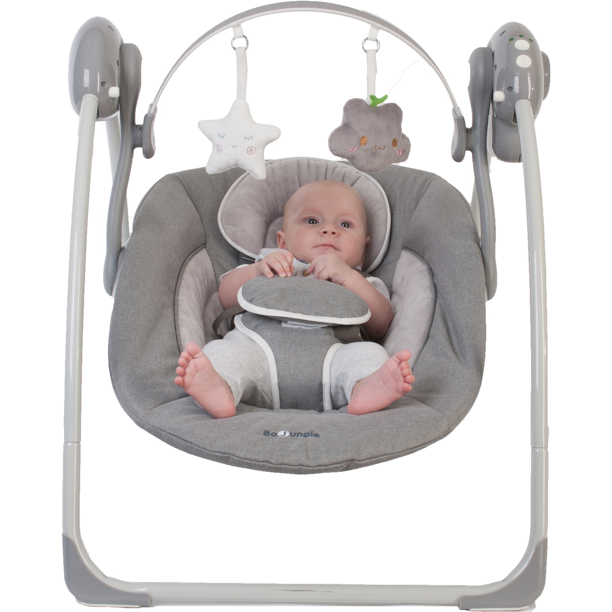 Fotografie Leagan portabil BO Jungle pentru bebelusi cu arcada jucarii, Gri