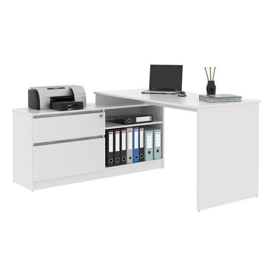 Bentos sarok íróasztal zárható fiókkal 157x138 cm, Fehér zvSKR2