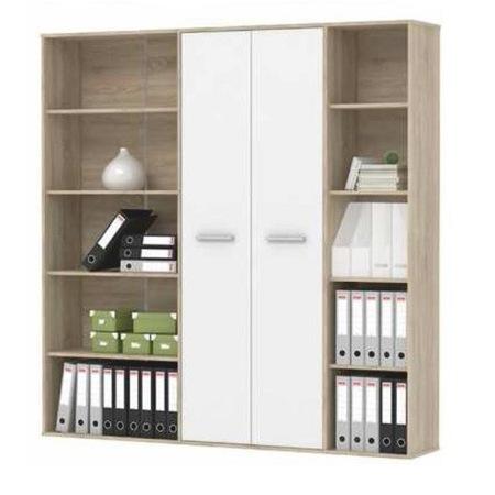 Maurus szekrény Sonoma tölgy-fehér polcos szekrény 181x181x34 cm
