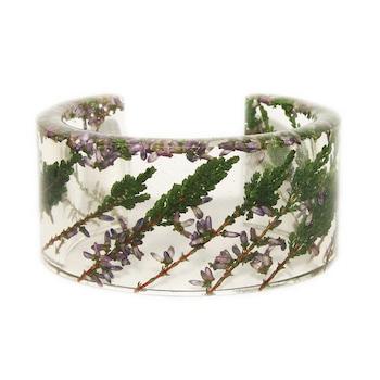Дамска гривна Peterini, Цветя и смола, Зелен, Код GR405