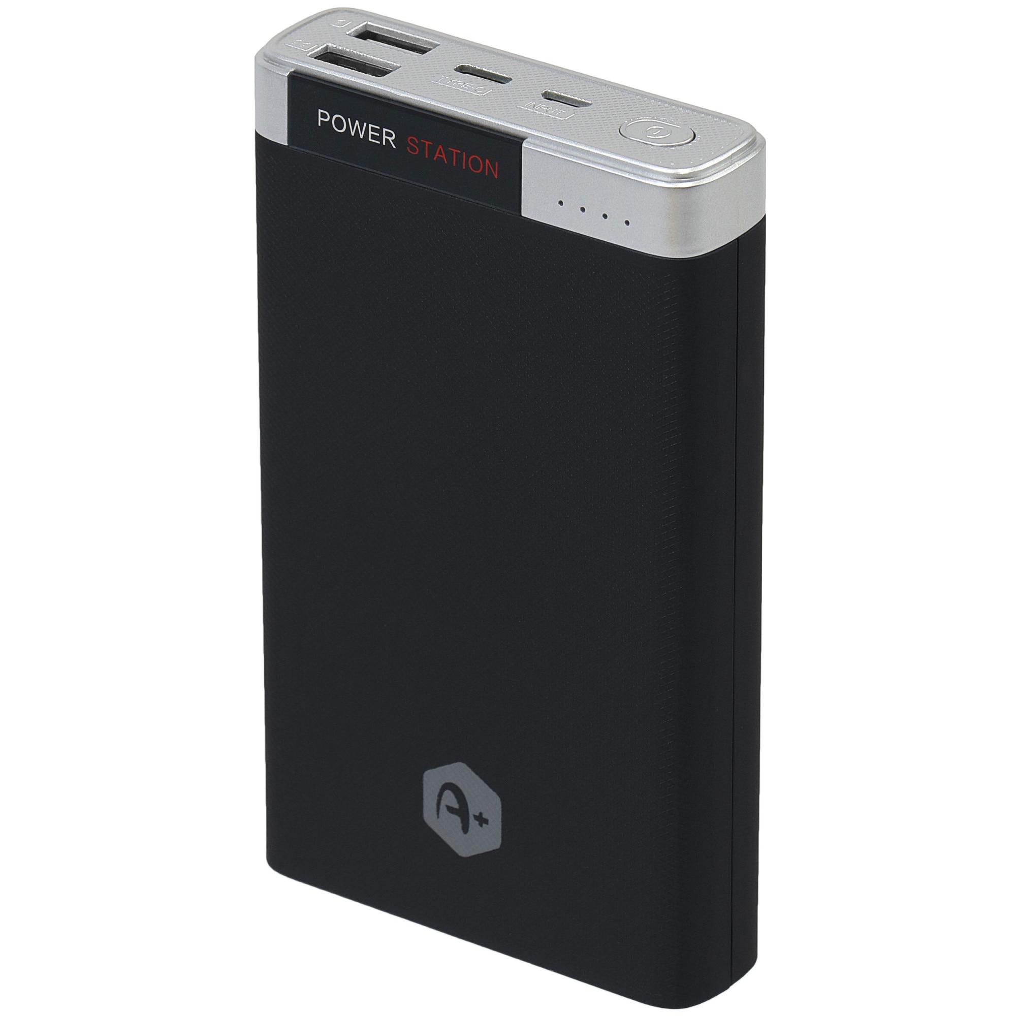 Fotografie Acumulator extern A+ 20000 mAh, 2 porturi USB, conectivitate type-C si micro USB, Negru